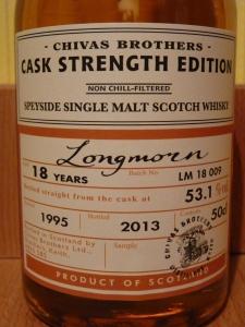 Longmorn 18 CS Label