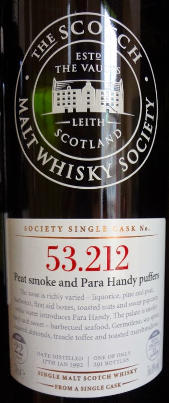 SMWS 53.212 Peat smoke and para handy puffers