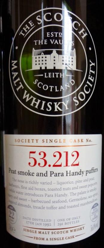SMWS 53.212 Peat smoke and para handy puffers