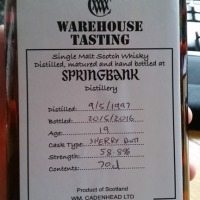 Springbank 19 Years Old 1997 Sherry Butt ~ 58.8% (Cadenhead's)
