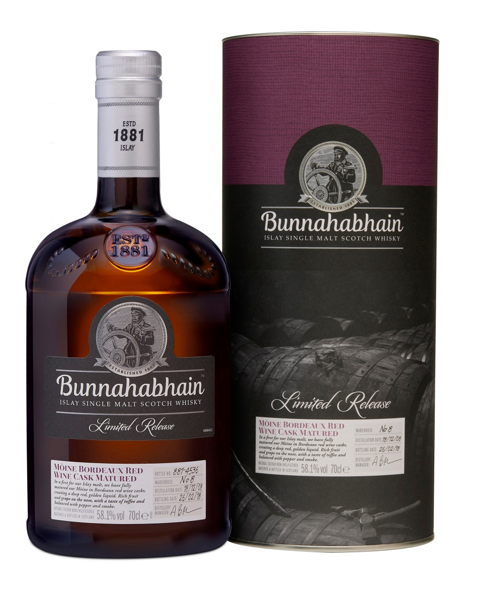 Bunnahabhain 9 Year Old 2008 Mòine Bordeaux Red Wine Cask Matured (58.1%, OB, 4536 Bottles, 2018)