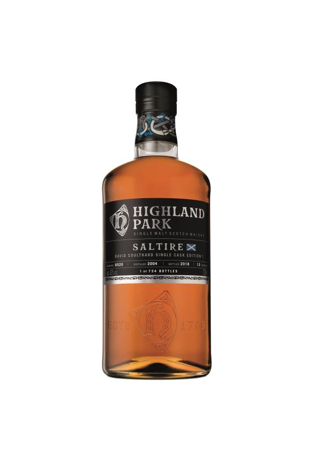 Highland Park SALTIRE EDITION 1, signed David Coulthard single cask bottling